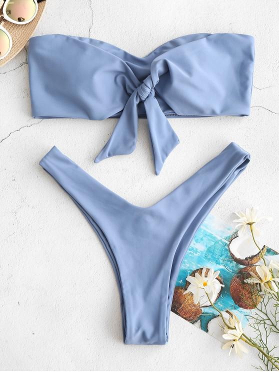 ladies ZAFUL Knotted High Leg Bandeau Bikini Set - SKY BLUE M