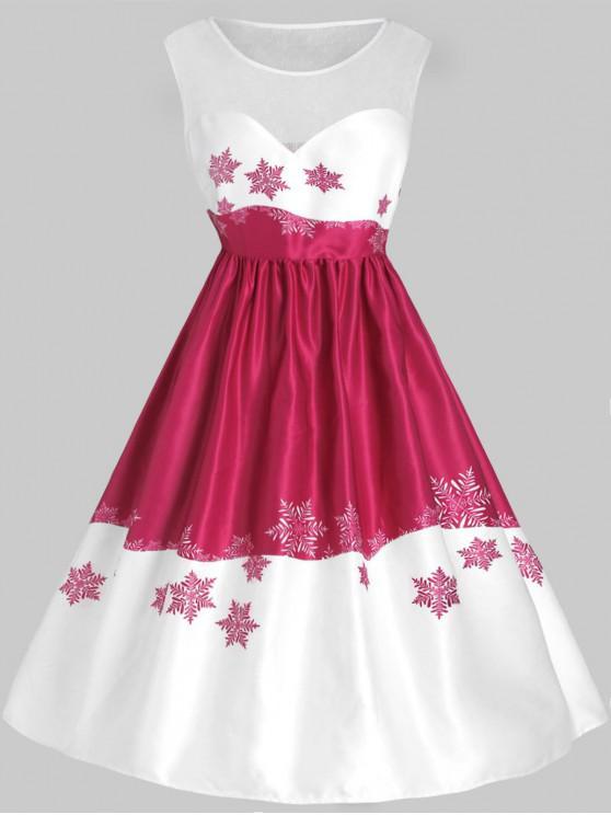 Plus Size Mesh Panel Snowflake Christmas Vintage Dress - Multi 1X