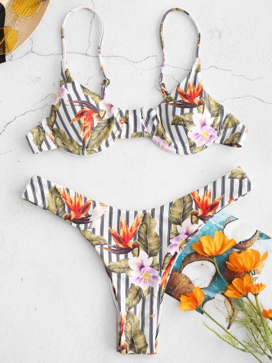 ZAFUL Blumen-Bügel-Bikini -Set mit Streifen - Weiß S