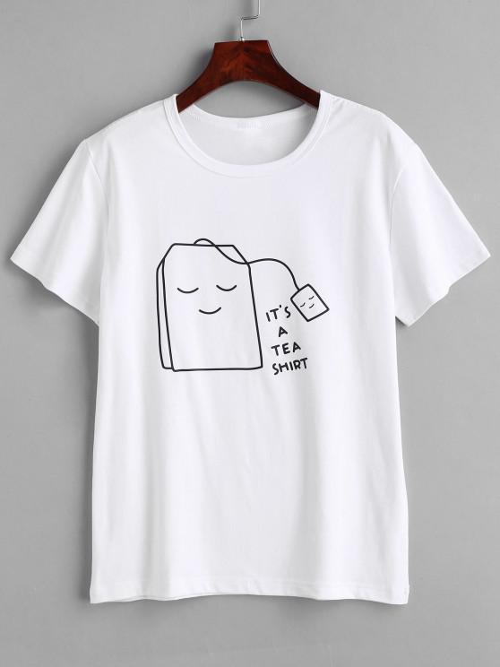 T-shirt Gráfico de Chá - Branco S