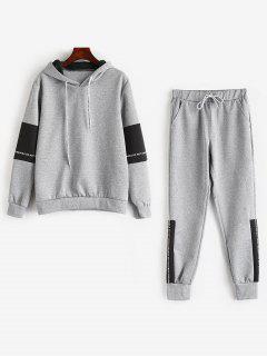 Contrast Letter Hoodie Sweatpants Suit - Gray Xs