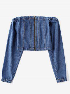 Blouse Zip En Avant à Epaule Dénudée En Denim - Bleu Foncé Toile De Jean L