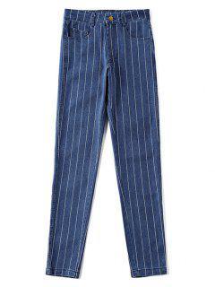 Pantalones Vaqueros A Rayas De Cintura Alta - Azul Oscuro De Denim L