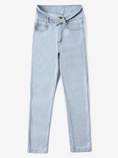 Zipper Fly Light Wash Jeans - Jeans Blue L