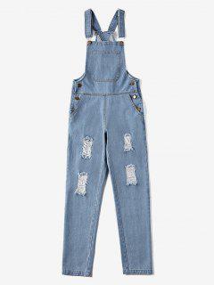 Front Pocket Ripped Denim Overalls - Jeans Blue M