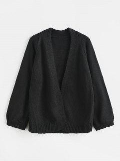 Raglan Sleeve Open Front Cardigan - Black