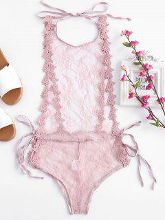 See Thru Lace Lingerie Teddy - Pink