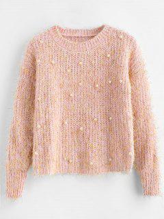 Suéter Con Cuentas De Perlas De Imitación Brillante - Rosa Naranja