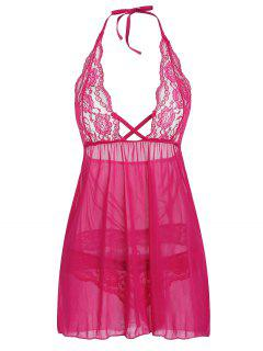 Spitzeneinsatz Halter Sheer Lingerie Dress - Dunkelrosa 2xl