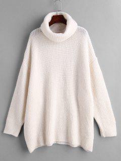 Turtleneck Oversized Plain Sweater - White M
