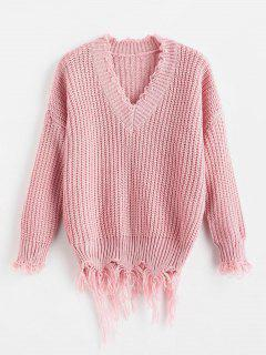 Distressed Chunky Sweater - Pink