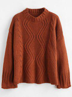 Wide Sleeve Cable Knit Drop Shoulder Sweater - Brown