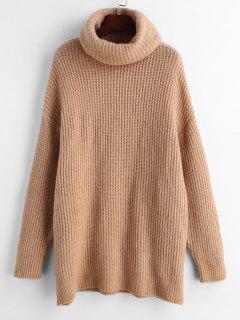 Turtleneck Oversized Plain Sweater - Camel Brown M