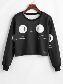 Kitten Graphic Pullover Cropped Sweatshirt - Black S
