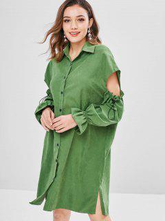 Vestido De La Camisa De Corte De Hendidura - Verde De Algas Marinas M