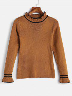 Contrast Trim Frilled Sweater - Brown