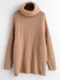 Pull Simple Surdimensionné à Col Roulé - Marron Camel S