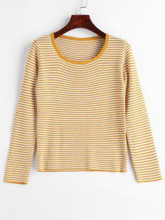 Scoop Pullover Stripes Sweater - Golden Brown