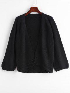 Raglan Sleeve Open Front Plain Cardigan - Black