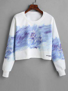 Stroke Print Pullover Cropped Sweatshirt - White M