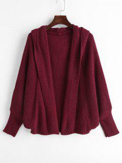 Hooded Batwing Open Front Cardigan - Red Wine