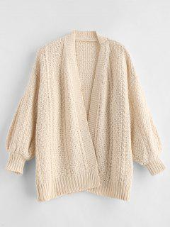 Cable Knit Drop Shoulder Cardigan - Warm White