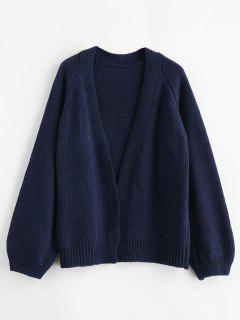 Wide Raglan Sleeve Open Cardigan - Midnight Blue