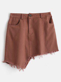 Asymmetrical Frayed Mini Skirt - Chestnut M