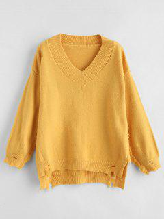 Openwork Ripped Sweater - Mustard