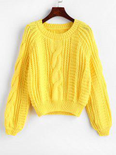 Raglan Ärmel Cable Knit Chunky Sweater - Gelb