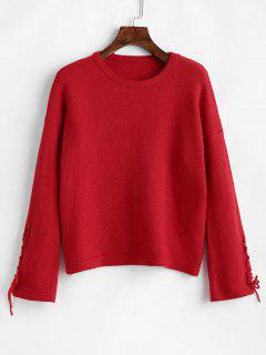 Drop Shoulder Schnürsenkel Soft Sweater - Rot