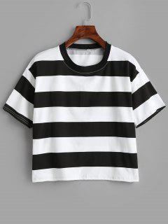 Camiseta Rayas Contraste De Manga Corta - Multicolor Xl