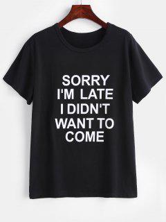 Camiseta Con Cuello Redondo Y Gráfico - Negro L