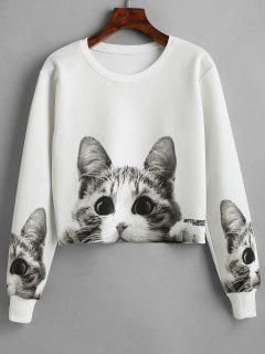 Kitten Print Pullover Cropped Sweatshirt - White L