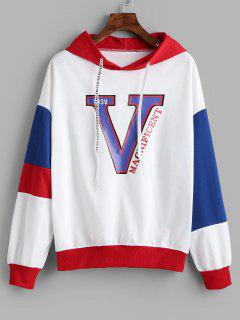 Letter Graphic Color Block Drawstring Hoodie - White Xl