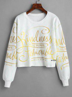 Lettering Graphic Pullover Cropped Sweatshirt - White L