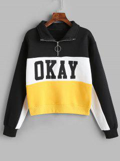 Sudadera Okay Color Block Half Zip - Multicolor M