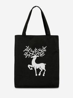 Deer Printed Canvas Handbag - Black