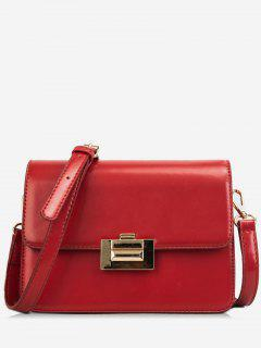 Metal Lock Design Patent Leather Crossbody Bag - Red Wine