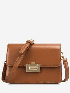 Metal Lock Design Patent Leather Crossbody Bag - Brown