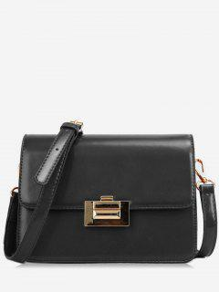 Metal Lock Design Patent Leather Crossbody Bag - Black