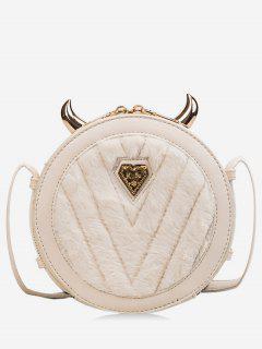 Little Evil Shape Fluffy Mini Crossbody Bag - Warm White
