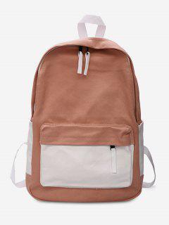 Canvas Color Block Design Student Backpack - Light Pink