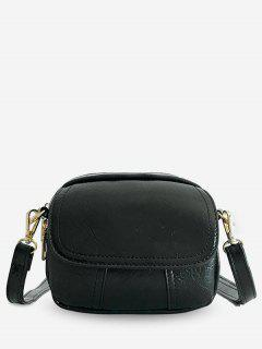 PU Leather Layered Design Crossbody Bag - Black