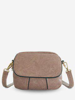 PU Leather Layered Design Crossbody Bag - Pink