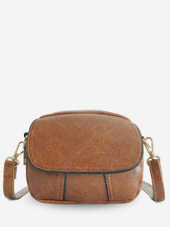 PU Leather Layered Design Crossbody Bag - Brown