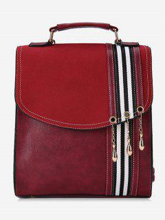 Striped Pattern PU Leather Backpack - Red Wine