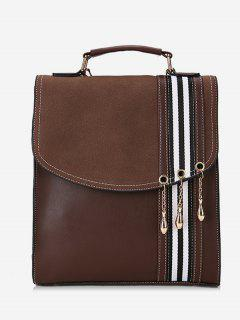 Striped Pattern PU Leather Backpack - Coffee