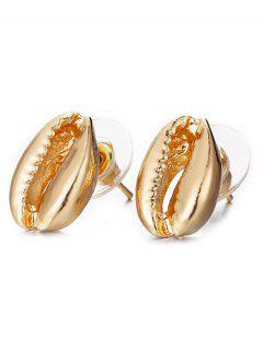Seashell Design Stud Earrings - Gold