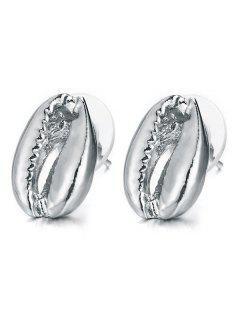 Seashell Design Stud Earrings - Silver